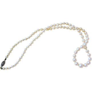 Art Deco Graduated Strand of Knotted Pearls with Sterling Filigree Clasp