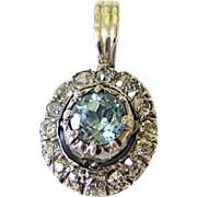 Antique Diamond Aquamarine Sterling and 10kt Gold Pendant