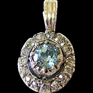 Antique Diamond Aquamarine Sterling and 10kt Gold Pendant