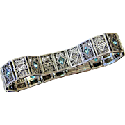 Art Deco Sterling Filigree Aquamarine Paste Bracelet - Signed and Hallmarked