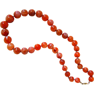 Antique Carnelian Banded Agate Graduating Bead Necklace knotted