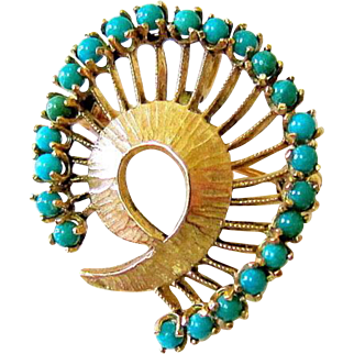 Mid Century Turquoise and 14KT Yellow Gold Brooch Pendant