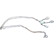Edwardian Cabochon Moonstone Sterling Silver Drop Pendant with Chain