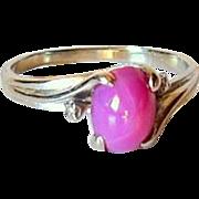 Mid Century Cabochon Star Ruby Diamond 14KT White Gold Ring