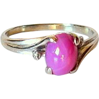 Mid Century Cabochon Star Ruby 14KT White Gold Ring