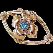 Edwardian 10KT Rosy Gold Zircon Figurative Brooch