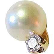Salt Water Pearl and Diamond 14KT Gold Tie Tack
