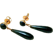 Antique Spinach Jade 14KT Rosy Gold Drop Earrings - Post with Screwback