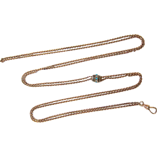 Victorian Etruscan 10kt Rose Gold Filled Watch Muff Long Guard Chain with Slide and Dog Clip