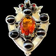 Victorian Scottish Banded Agate Cairngorm Citrine Paste Sterling Shield Brooch Pin