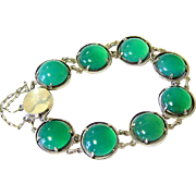 Arts and Crafts Chrysoprase Sterling Silver Bracelet - Hallmarked