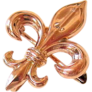 Antique 10KT Rose Gold Fleur De Lis Chatelaine Brooch