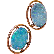 Opal 10kt Rose Gold Cufflinks Toggle link Closure - Red Tag Sale Item