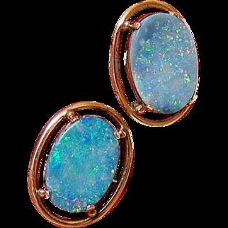 Opal 10kt Rose Gold Cufflinks Toggle link Closure