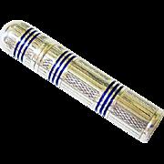 Art Deco Ultramarine Blue Enamel Sterling Silver Etui Needle Case - Hallmarked