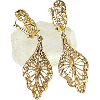 Antique 10 kt Yellow Gold Fine Wire work Filigree Post French Clip Drop Earrings