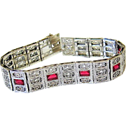 Art Deco Sterling Filigree Ruby Paste Bracelet - R.F. Simmons