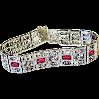 Art Deco Sterling Filigree Ruby Paste Bracelet - R.F. Simmons