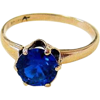 Antique Royal Blue Spinel 10KT Rosy Gold Crown Set Ring