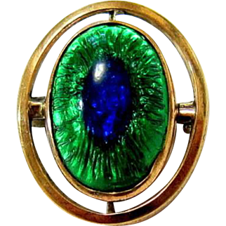 Rare Antique Bohemian Peacock Eye Glass 10KT Rolled Gold Brooch