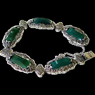 Art Deco Green Chrysoprase Marcasite Sterling Silver Bracelet - Germany