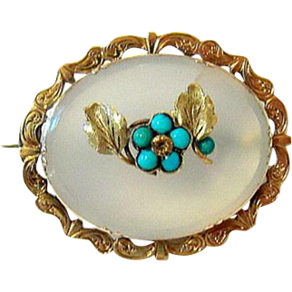 Antique Victorian 10KT gold Chalcedony Turquoise Brooch