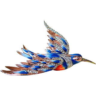 Rare 1940's Adolph Katz for Coro Craft Sterling Vermeil Enamel Rhinestone Flying Bird Brooch - Signed