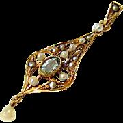 Art Nouveau Rosy 14 kt Gold Aquamarine Seed pearl Pendant