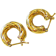 Classic Italian 14 Kt Yellow gold Twist Hoop Earrings
