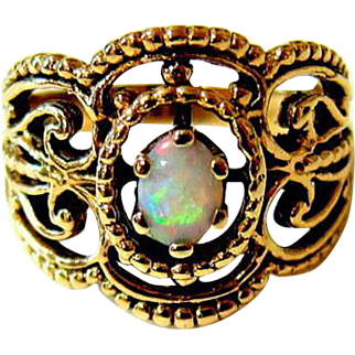 Opal Cabochon 14 Kt Yellow Gold Ring - Signed and Hallmarked