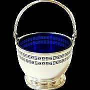 Antique Pierced Ribbed Sterling Silver Cobalt Blue Glass Basket - Hallmarked and Back Stamped