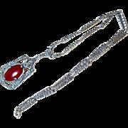 Antique Carnelian Marcasite Sterling Silver lavalier Necklace