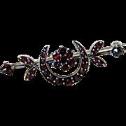 Antique Victorian Bohemian Garnet Silver Vermeil Brooch