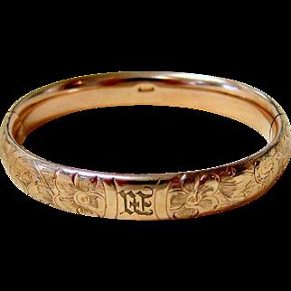 Antique 10KT Rosy Rolled Gold Etched Bangle Bracelet - Signed