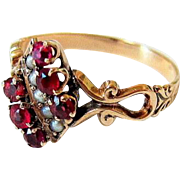 Antique Victorian Mine Cut Garnet Seed pearl 10 kt Rolled Rose Gold Ring