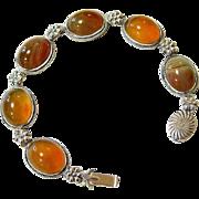 Antique Scottish Banded Agate Sterling Silver Bracelet