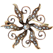 Late Victorian 10KT Rose Gold Seed Pearl Brooch - Pin