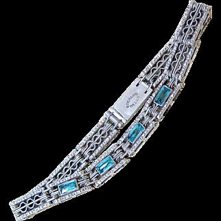 Art Deco Etched Faceted Aquamarine Paste Sterling Bracelet - Wells