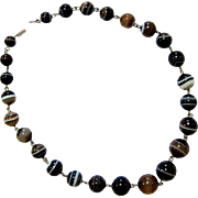 Rare Victorian Scottish Banded Bull's Eye Agate Graduated Bead Necklace