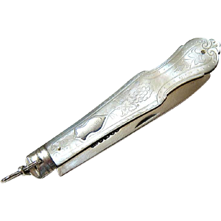 Antique Sterling Silver Mother of Pearl Fruit Knife Chatelaine Watch Fob - James Fenton