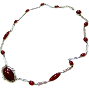 Art Deco Cabochon Carnelian Sterling Silver Necklace - Matching Clasp