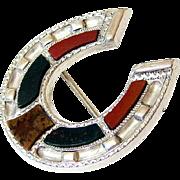 Victorian Scottish Pebble Bloodstone Carnelian Agate Sterling Silver Brooch Pin