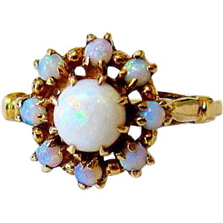 Edwardian Natural  Fiery Opal 10KT Yellow Gold Halo Ring
