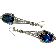 French Art Deco Pierced Sterling Sapphire Paste Marcasite Pendant Earrings