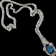 French Art Deco Pierced Sterling Sapphire Paste Marcasite Lavalier Necklace