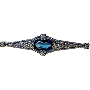 French Art Deco Sterling Sapphire Paste Marcasite Brooch