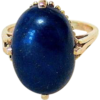 Natural Cabochon Oval Lapis Lazuli 14 KT Rosy Gold Ring