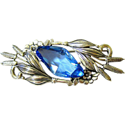 Art Deco Large Sterling Silver Blue Cut Crystal Brooch - Figural