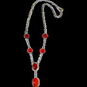 Art Deco Scottish Carnelian Sterling Silver Drop Necklace