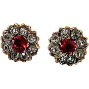 Antique Ruby Smoky Topaz Paste 10KT Rosy Gold Stud Earrings